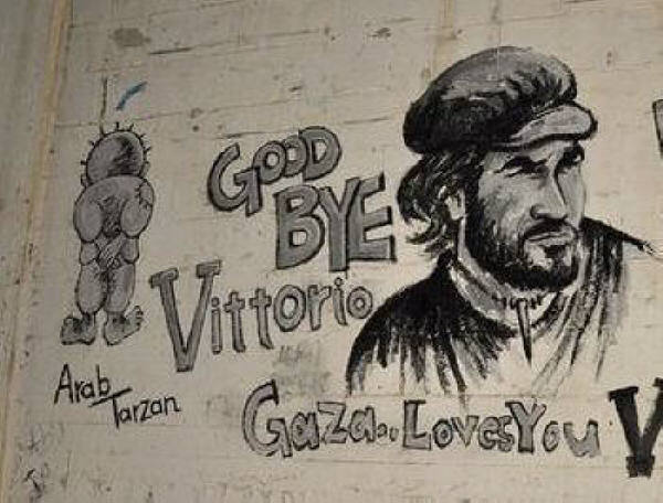 ittorio Arrigoni's image on the separation wall in Gaza